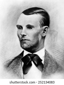 Jesse James, the western outlaw, from a daguerreotype made in 1875 in Nebraska City, Nebraska.