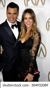 Jessica Alba and Cash Warren at the 24th Annual Producers Guild Awards held at the Beverly Hilton Hotel in Beverly Hills, USA on January 26, 2013.