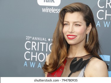 Jessica Biel at the 23rd Annual Critics' Choice Awards held at the Barker Hangar in Santa Monica, USA on January 11, 2018.
