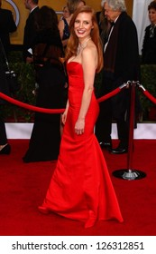 Jessica Chastain at the 19th Annual Screen Actors Guild Awards Arrivals, Shrine Auditorium, Los Angeles, CA 01-27-13