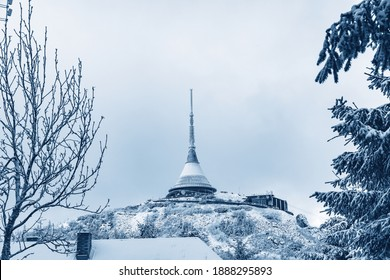 Jested covered with snow. View of the winter mountain Jested with a transmitter. - Shutterstock ID 1888295893