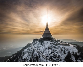 Jested is the highest mountain peak (1,012 m) of Liberec in the north of the Czech Republic. On the summit is the Jestedd Tower restaurant, hotel and television tower. Accessible by road or cable car. - Shutterstock ID 1471450415