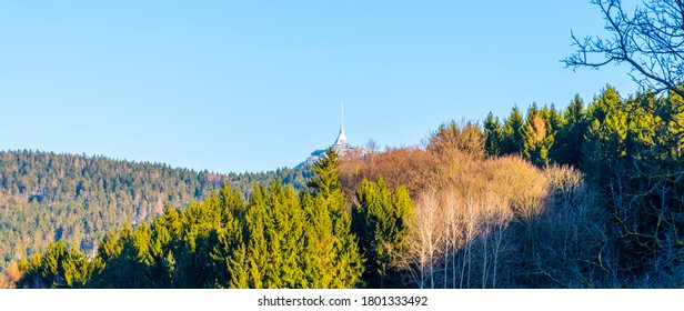 Jested Mountain with modern hotel and transmitter on the top. Extraordinary view from Krystofovo Udoli, Czech Republic. - Shutterstock ID 1801333492
