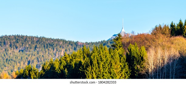 Jested Mountain with modern hotel and transmitter on the top. Extraordinary view from Krystofovo Udoli, Czech Republic. - Shutterstock ID 1804282333