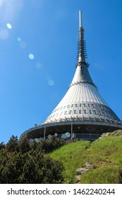 Jested Tower is a 94-metre-tall tower used to transmit television signals built on the top of Jested mountain near Liberec in the Czech Republic. - Shutterstock ID 1462240244