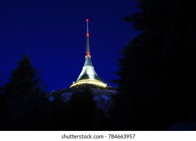 Jested Tower on early winter morning, Liberec, Czech Republic