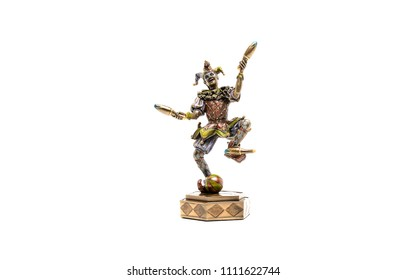 Jester figurine isolated on white. Jester juggler