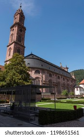 The Jesuit catholic Church of Heidelberg, Germany, Europe. with the beautiful soothing temple garden. Shot in summer on sunny day