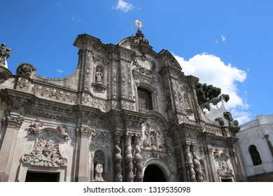 Jesuit Church of La Compania in Quito, Ecuador. Architecture of the historic center of Quito. Colonial area in Quito is an UNESCO World Heritage site.