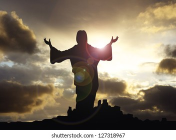 jesus arms raised