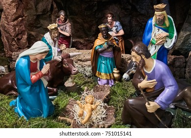 Jesus was born! St. Joseph and Madonna, together with the magi, pray for the arrival of the baby Jesus. Italian Christmas Nativity.