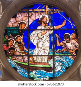 Jesus Calms the Storm, a stained glass on a window in Gustafs church, Copenhagen - February 11, 2014