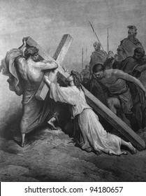 Jesus carries the heavy cross. 1) Le Sainte Bible: Traduction nouvelle selon la Vulgate par Mm. J.-J. Bourasse et P. Janvier. Tours: Alfred Mame et Fils. 2) 1866 3) France 4) Gustave Doré