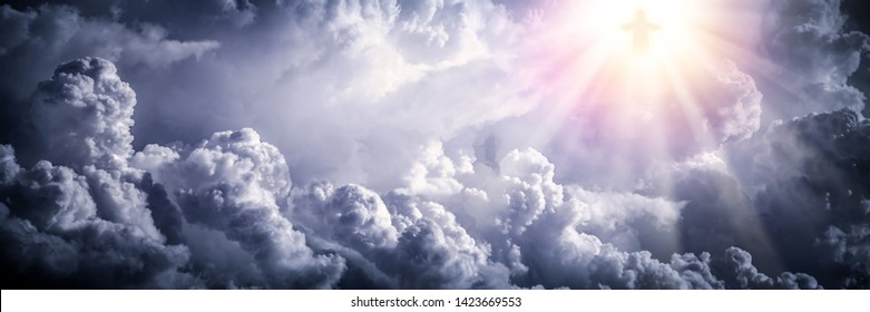 Jesus Christ In The Clouds With Brilliant Light - Ascension / End Of Time Concept