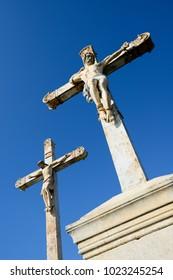 jesus christ cross calvary statue on golgotha hill christian easter symbol