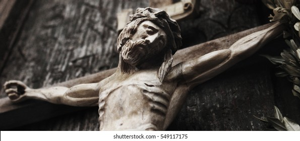 Jesus Christ crucified (an ancient wooden sculpture) (details)