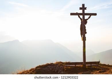 Jesus Christ crucifix in Alps