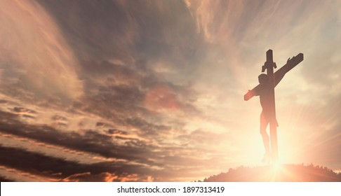 Jesus christ crucifix cross on heaven sunrise concept catholic religion, Christian worship god, ascension easter day, pray praise good Friday sunrise background, bible gospel resurrection sunday.