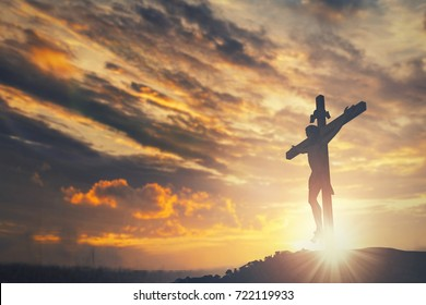 Jesus christ crucifix cross on heaven sunrise concept christmas catholic religion, forgiving christian worship god, happy easter day, praying praise good friday sunrise background, bible gospel sunday