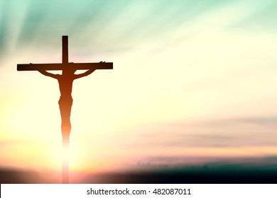 Jesus christ crucifix on cross calvary nature background concept for seventh day adventist church, love agape he is risen in world easter day, good Friday, Christmas, catholic faith for Sunday funeral