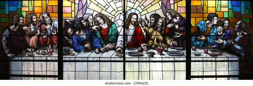 Jesus Christ and his Apostles at the Last Supper.