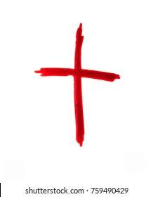 Jesus Christ logo. crucifix Blood on white background.
