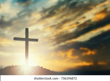 Jesus christ mercy at cross on mountain sunset background He belief to worship son of god, he is risen in sunrise Easter day lord calvary concept good friday, funeral, passion of prayer, Christmas
