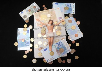 Jesus Christ and Money on a Dark Background - Religion Concept