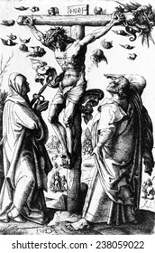 Jesus Christ, Christ on the Cross, etching by Daniel Hopfer, ca 1490-1536.