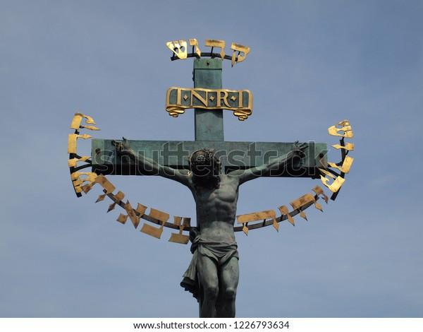 Jesus Christ On Cross Hebrew Letters Stock Photo (Edit Now) 1226793634