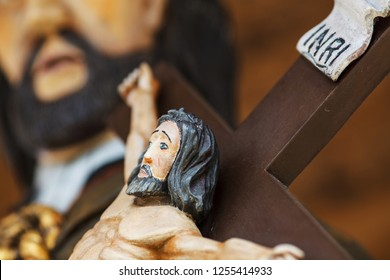 Jesus Christ on the cross old wooden sculpture