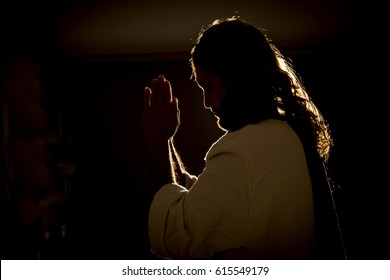 Jesus Christ praying at night to the Father