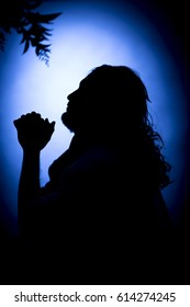 Jesus Christ praying at night on the Mount of Olives