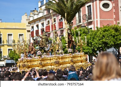 Jesus Christ in a procession coming out of the church