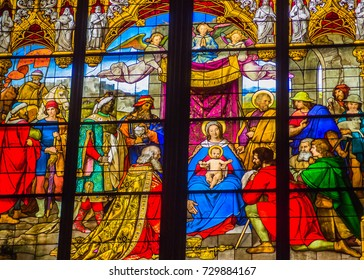 jesus christ son of god stained glass in cologne cathedral cologne german europe  date 2017 May 24