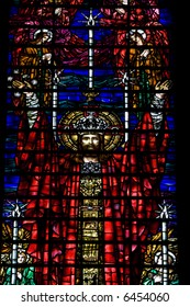 Jesus Christ stained glass in Cathedral Church of St. John the Divine in New York