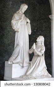 Jesus Christ statue in the cemetery Vysehrad in Prague, Czech republic