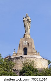 Jesus Christ statue on top of the Urgull mountain in San Sebastian. Basque country, Spain