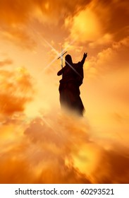 Jesus with Cross pointing to the light in the Heavens