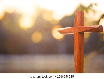 Jesus cross.Crucifixion Of Jesus Christ.Jesus with wooden Cross concept for faith religion, christian worship, Easter, Good friday, Corpus Chisti. The Feast of Corpus Christi Holy communion Concept.