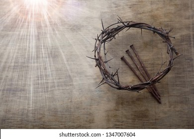 Jesus Crown Thorns and nails on Old and Grunge Wood Background. Vintage Retro Style. Free space for text - Shutterstock ID 1347007604