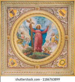 Jesus fresco in the ceiling of the Church of the Suore Missionarie di Gesù Eterno Sacerdote, in Rome, Italy. September-23-2018