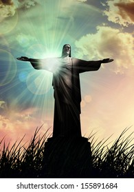 jesus, in a grass, sunset sky clouds background