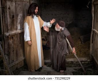 Jesus healing the lame or crippled man