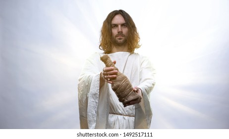 Jesus holding bottle of wine, Gospel story about miracle of wine, Communion