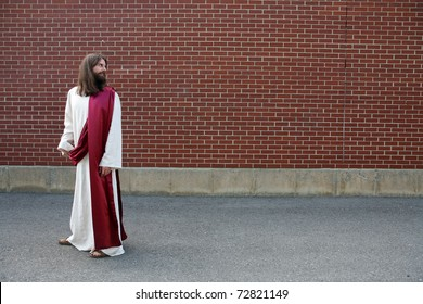 Jesus looking over his shoulder - room for your text or image
