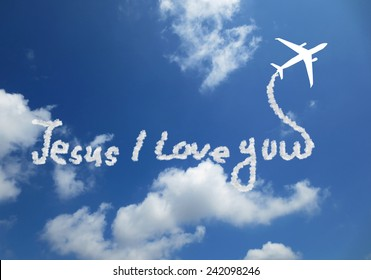 Jesus i love you! text in clouds form with blue sky background