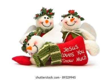 Jesus loves you snow much, isolated on white