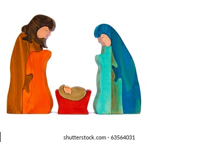 Jesus Mary and Joseph in stained wood isolated on white