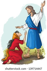 Jesus to Mary of Magdalene. Christian cartoon raster illustration. Also available vector version